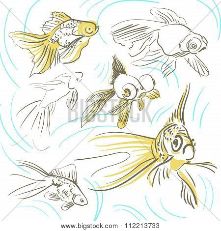 Goldfishes with outlines sketch