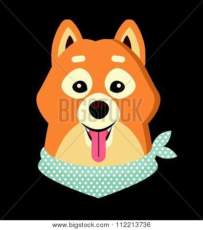 Vector illustration of cute Siba-inu dog.