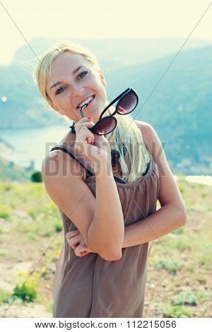 Portrait Of Beautiful Blond Woman Relaxing