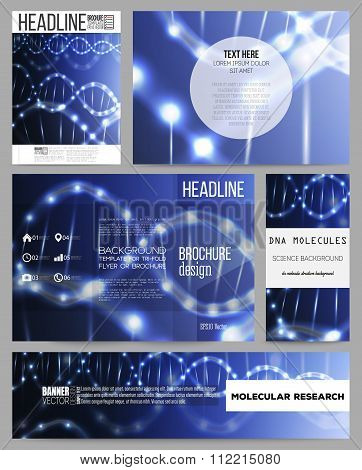 Set of business templates for presentation, brochure, flyer or booklet. DNA molecule structure on da