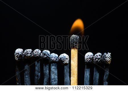 Row of burned matches with single fired up.