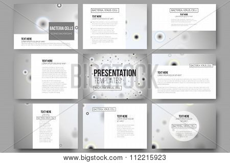 Set of 9 vector templates for presentation slides. Molecular research, cells in gray, science backgr