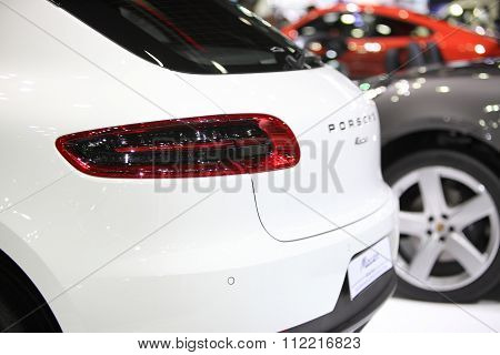Bangkok - December 11:zoom Back Of Porsche Macan Car On Display At The Motor Expo 2015 On December 1