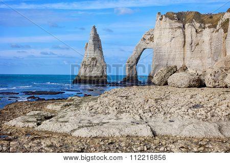famouse Etretat arch rock, France