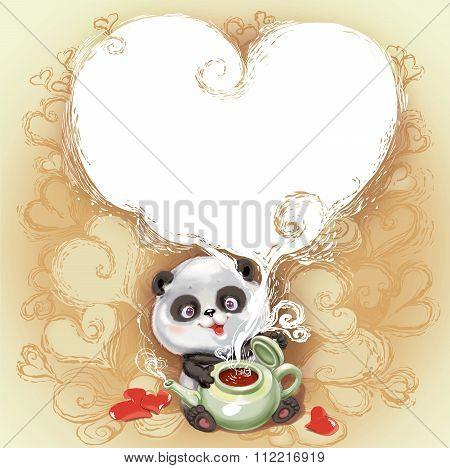 Teddy Bear Panda Congratulates Happy Valentine's Day