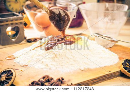 Preparing Christmas Iced Gingerbread Dough Ingredients Recipe Kitchen Table Pouring Caramel Egg Flou