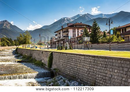 Bansko, Bulgaria view at summer with Hotel, river and mountains