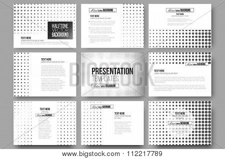 Set of 9 vector templates for presentation slides. Halftone background. Black dots on white