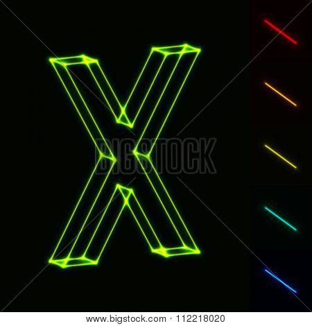 EPS10 vector glowing wireframe letter X - easy to change color
