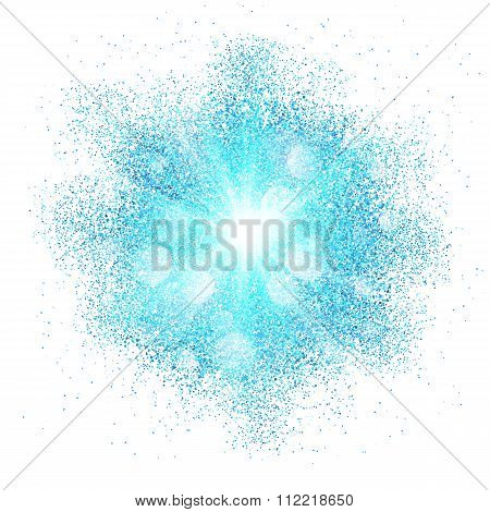 Blue dust explosion splash on white background