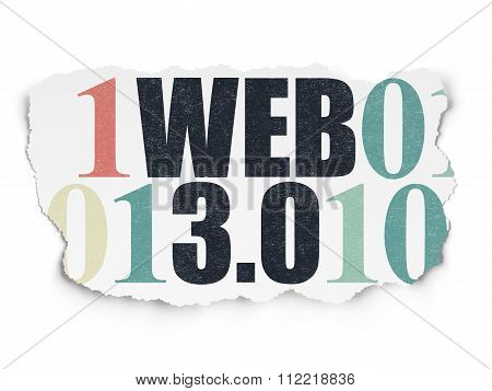 Web development concept: Web 3.0 on Torn Paper background