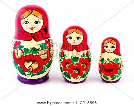 Russian nesting dolls. Babushkas or matryoshkas. Set of 3 pieces