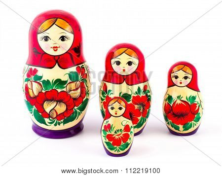 Russian nesting dolls. Babushkas or matryoshkas. Set of 4 pieces