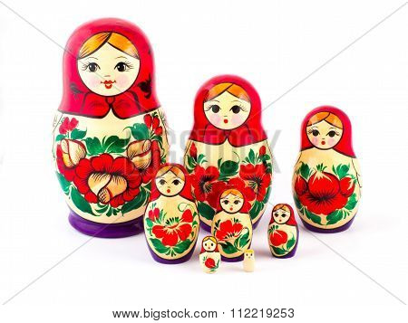 Russian nesting dolls. Babushkas or matryoshkas. Set of 8 pieces