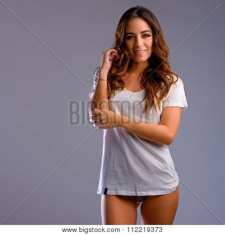Beautiful Young Woman In Underwear And Tshirt