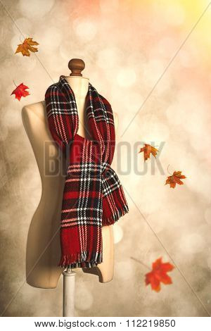 Winter tartan plaid scarf with floating autumn leaves