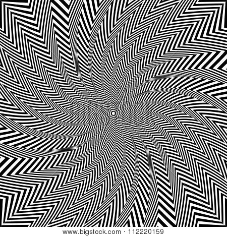 Illusion of rotation and torsion movement. Vector art.