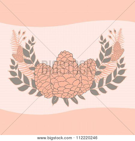 Pine Cones Set. Frame Wreath. Larch Branches With Cones. Invitation Card. Wedding Invitation. Greeti
