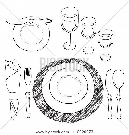 Vector Table Setting. White And Clear Tableware And Eating Utensils Are Set At The Table For Serving