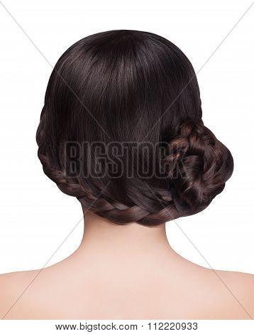 Woman With Brunette Hair And Braid Hairdo