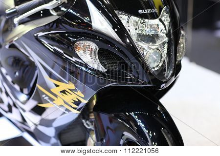 Bangkok - December 11 : Zoom Front Of Suzuki Hayabusa Motorcycle On Display At The Motor Expo 2015 O