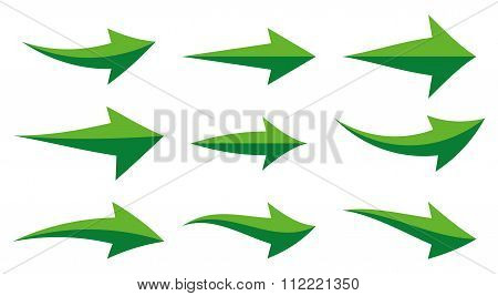 Icon Set Illustration Arrow Green