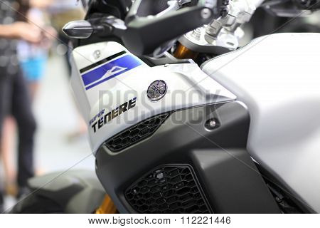 Bangkok - December 11 : Zoom Side Of Yamaha Super Tenere Motorcycle On Display At The Motor Expo 201