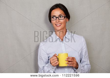 Caucasian Ethnicity Female In Glasses Holding Mug