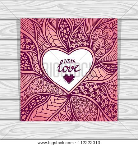 Template with Zen-doodle style pattern and heart frame pink lilac
