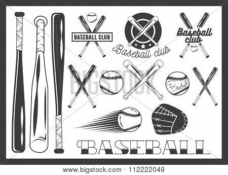 Vector set of baseball club emblem, label, badges, logo and design elements. Sport icons in vintage