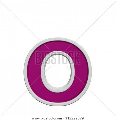 One lower case letter from pink glass with white frame alphabet set, isolated on white. Computer generated 3D photo rendering.