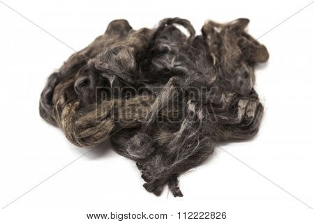 Arsenic gray piece of Australian sheep wool Merino breed close-up on a white background.