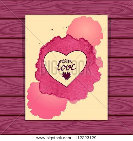 Template heart frame in beige lilac  watercolors stain on lilac wood background
