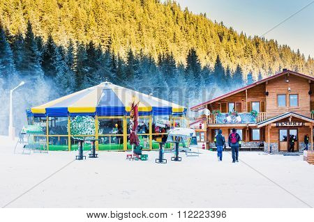Round cafe at Bunderishka polyana, ski resort Bansko, Bulgaria