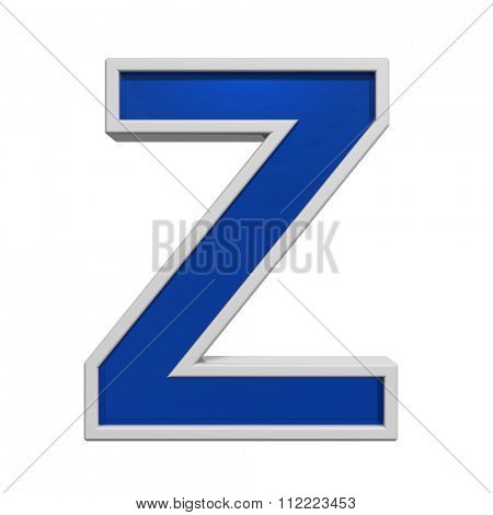One letter from blue glass with white frame alphabet set, isolated on white. Computer generated 3D photo rendering.