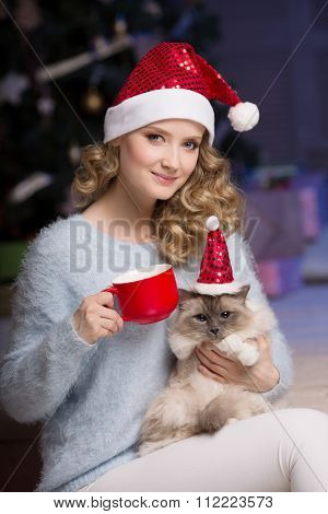Christmas party, winter holidays woman with cat. New year girl. christmas tree in interior background.