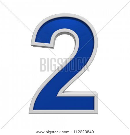 One digit from blue glass with white frame alphabet set, isolated on white. Computer generated 3D photo rendering.