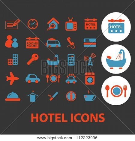 hotel, motel, room service icons, signs vector concept set for infographics, mobile, website, application