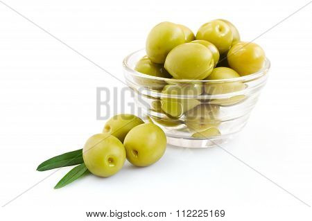 Green Olive In A Glass Bowl