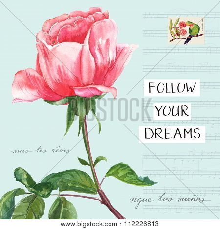 'Follow Your Dreams' vintage collage poster with Victorian rose