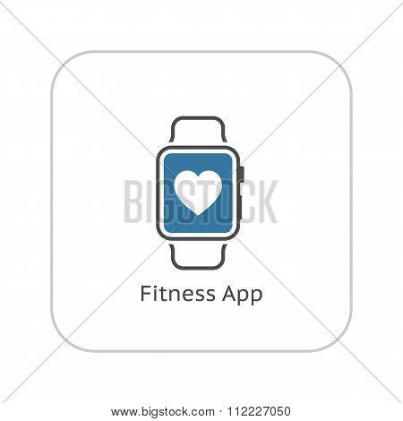 Fitness App Icon. Flat Design.