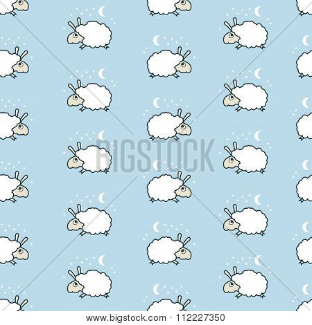 seamless cute sheep pattern.