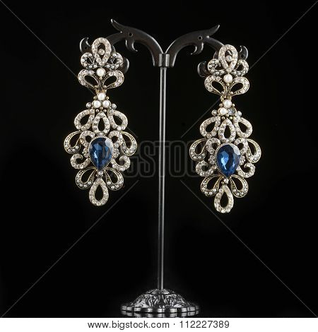 Jewelry earrings with gems