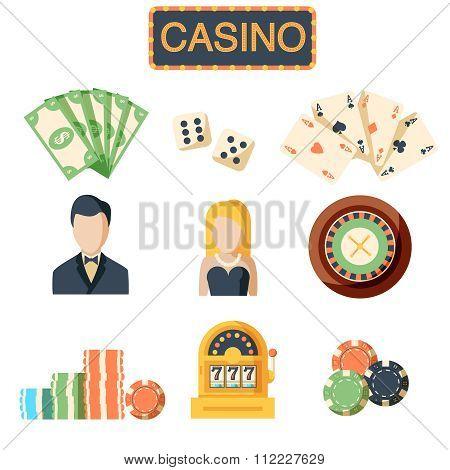 Casino flat isolated icons set