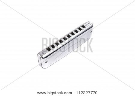 Harmonica,  French Harp Or Mouth Organ Isolated On White Background