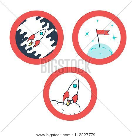 Space rocket launch. Vector illustration. Icons set.