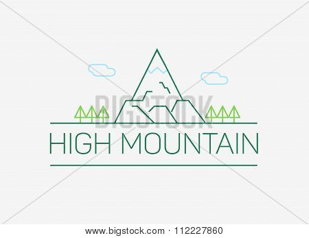 Vector high mountain logo and emblem in outline style