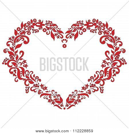 Embroidery Inspired Heart Shape In Red With Floral Elements   On White  Background With Stroke