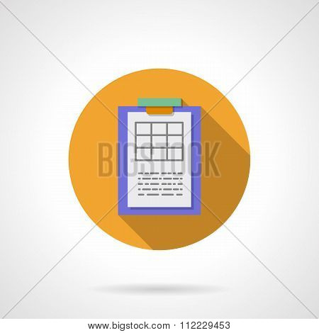 Clipboard with spreadsheet round flat vector icon