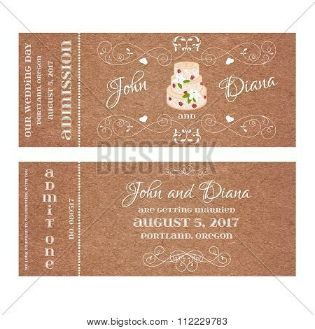Vector Grunge Ticket for Wedding Invitation with cake and roses